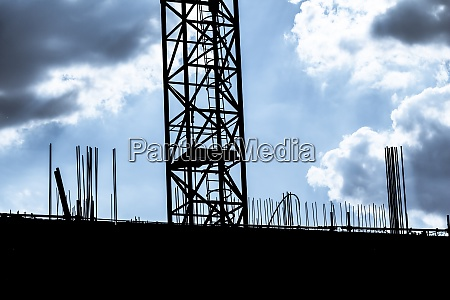 dark cloudy sky at building construction