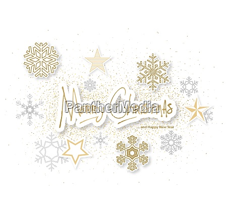 white christmas background with gold and