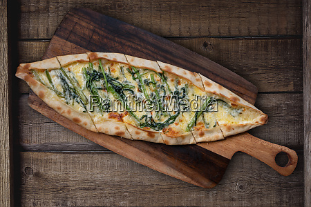 turkish pide with morning glory and