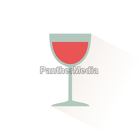 glass of wine icon with shadow