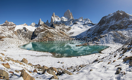 mount fitz roy rising from lago