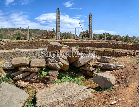 ancient obelisks in city aksum ethiopia