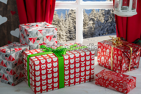 christmas gifs decoration near the rustic