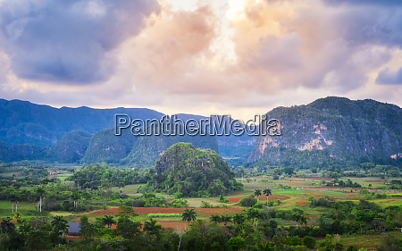 view of vinales valley at sunset