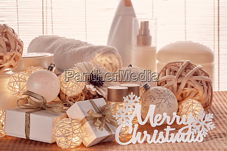spa composition and christmas decorations