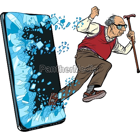 old, man, retired, grandfather, phone, gadget - 27391976