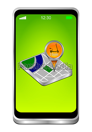 smartphone with map pointer with e