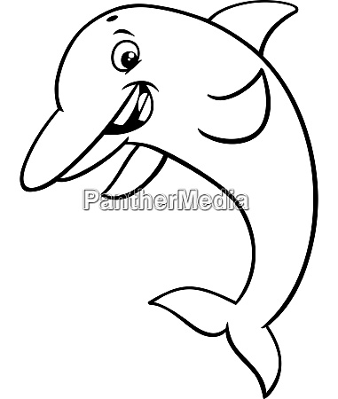 dolphin animal character cartoon coloring book