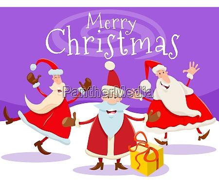 christmas card design with cartoon santa