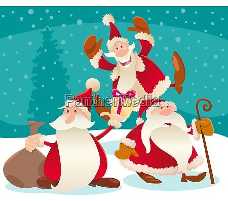 christmas design with cartoon santa claus