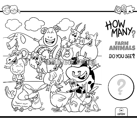 counting farm animals educational task color