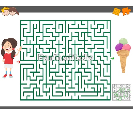 maze game with cartoon girl and