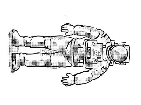 vintage astronaut or spaceman cartoon retro