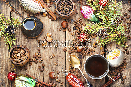 coffee with christmas decorations