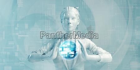 hispanic business woman using digital solutions