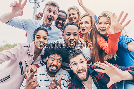 friends with diversity background having fun