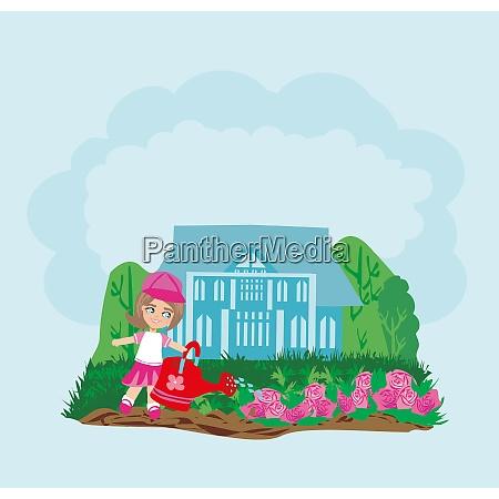 sweet girl watering flowers in the