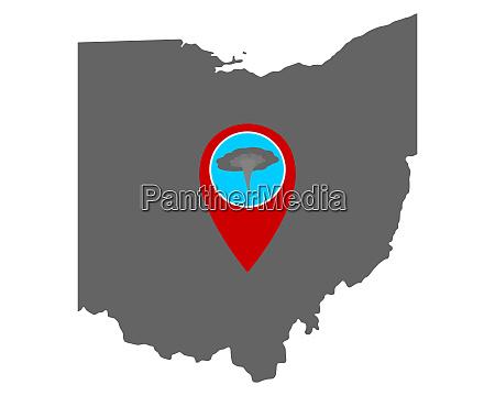 karte von ohio und pin tornadowarnung