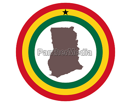 landkarte von ghana auf hintergrund mit