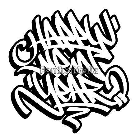 happy new year graffiti style outline