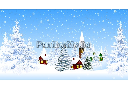 snow covered village and forest winter