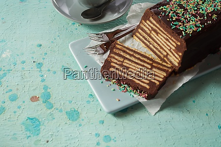 chocolate biscuit cake with topping