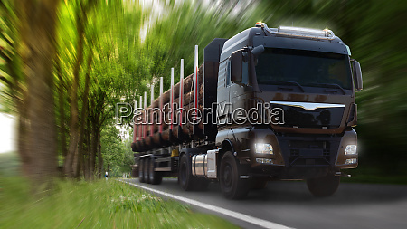 truck with heavy load big tree