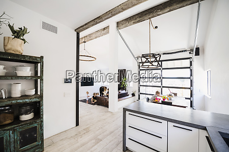 family in open plan home