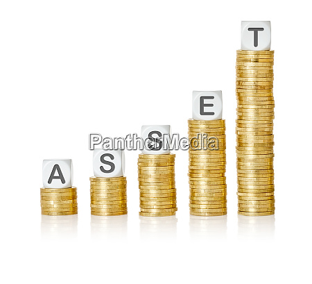 golden coin stacks with letter dice