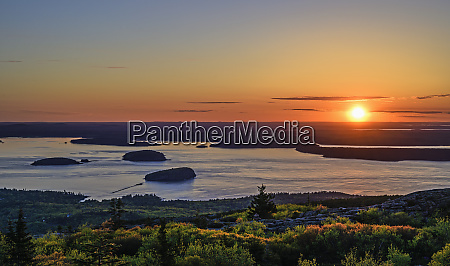 islands in frenchman bay at sunrise