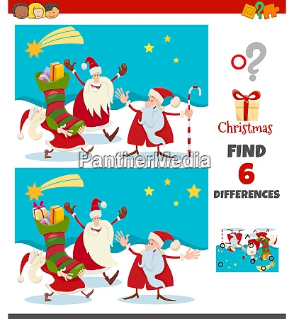 differences game with santa claus christmas