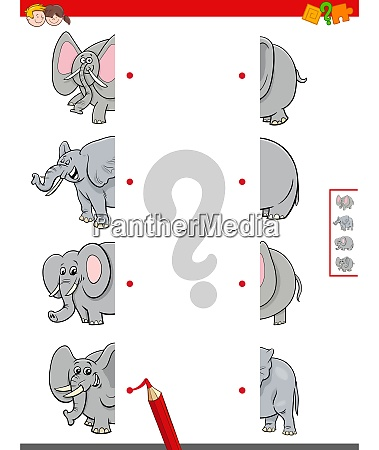 match halves of elephants educational game