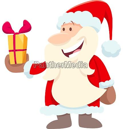 happy santa claus cartoon character with