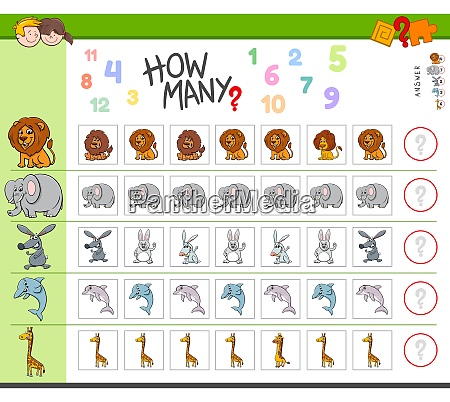 counting game with cartoon animal characters