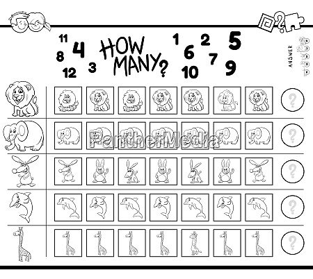 counting game with cartoon animals color
