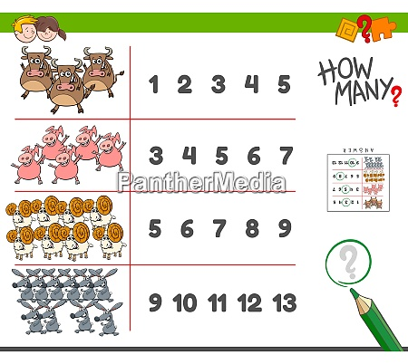 counting task with farm animals cartoon