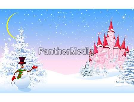 pink, castle, winter, forest, night - 27410436
