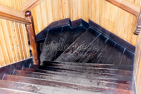 modern style staircase with wooden steps