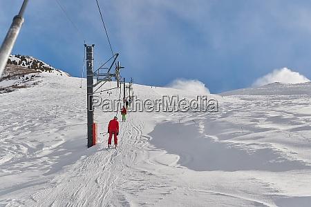 skiing slopes sunny weather