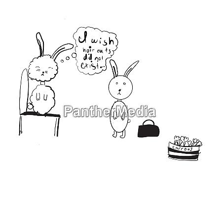 sketch doodle bunny rabbits carrot basket