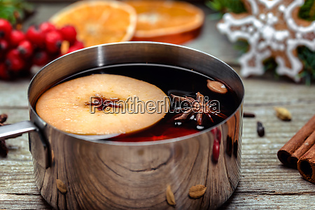 mulled wine in a metal bowl