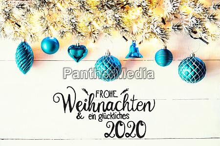 turquoise christmas decoration fir branch glueckliches