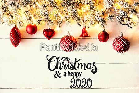 red christmas decoration fir branch merry