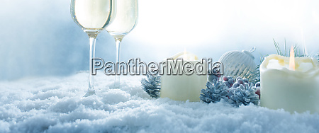 winter still life with champagne