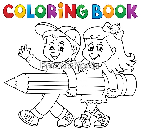 coloring book children holding pencil