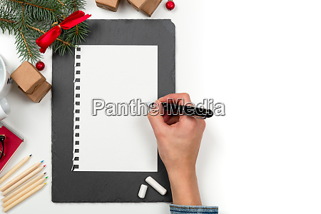 christmas letter writing on paper on