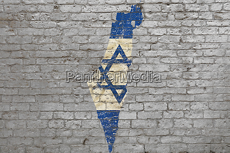 flag map of israel painted on