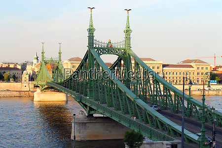 green liberty bridge in budapest