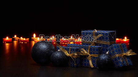 gift boxes and christmas ornaments