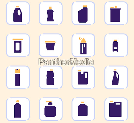 household chemicals icons set
